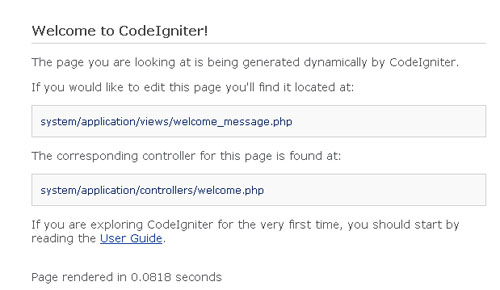 welcome codeigniter